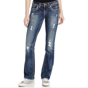 Silver Aiko Bootcut Jeans Studded 26 × 31 Ripped